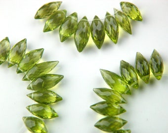 8x Premium Natural Arizona Peridot Microfaceted Puffy Pointers Briolettes Genuine Gemstones Untreated Beads August Birthstone Top Drilled