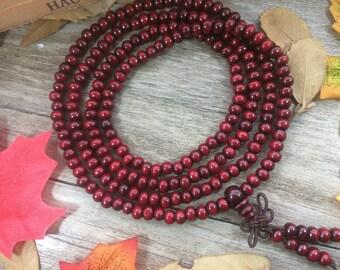 216pc 6MM Red wood Beads Meditation Buddhist Japa Mala Necklace Yoga bracelet