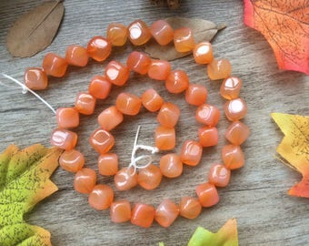 "1 Strand 15"" Natural Brazil Agate Cube Gemstone Square Loose Beads DIY Suppliers for Jewelry Spacer Charms  Orange"