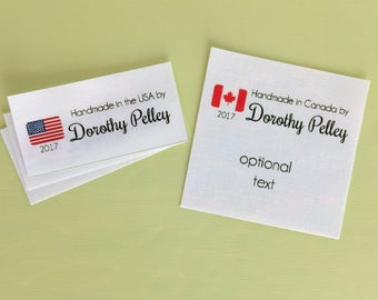 fabric labels, iron on label, quilt labels, fabric tags, knitting label, sewing label, personalized sewing label, made in USA label, NF30