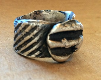 Wabi Sabi sterling silver corrugated cardboard look ring