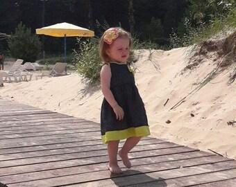 linen dress,grey linen dress,baby dress,girl dress