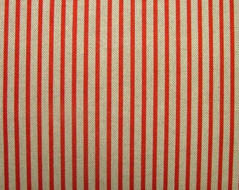 Natural Linen Look Red Ticking Stripe Fabric Curtains Patchwork Quilting Use