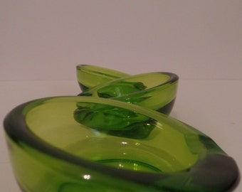 Set of 3 Green Viking Glass Ashtrays