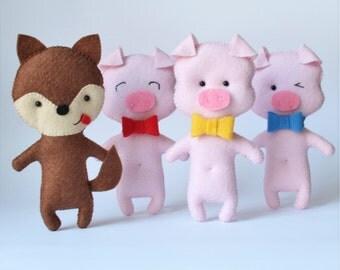 Three Little Pigs - Big Bad Wolf - Felt Stuffed Toy - Children Play Set - Felt Pocket Toys - Nursery Decor - Party Decor - Baby Shower Decor