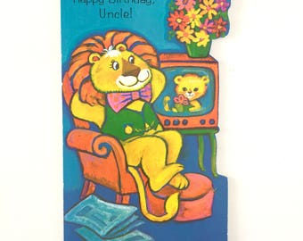 Vintage 1970s Uncle Birthday Card Lion Image Vintage Card Unused Birthday Card Animal Birthday Card Card for Uncle
