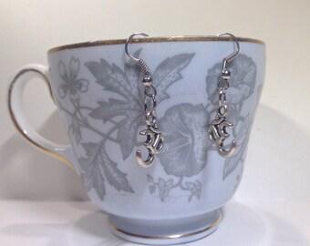 Om Earrings - Antique Silver Om Charm Earrings - Om Symbol Earrings  - Ohm Earrings - Eastern Jewelry