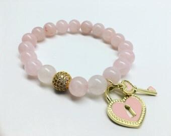 Rose Quartz Bracelet, Quartz Bracelet, Heart Charm Bracelet, Pink Bracelet, CZ Pave Bracelet, Gemstone Bracelet, Beaded Bracelet