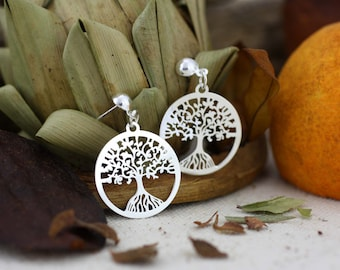 Tree-of-Life Earrings, Sterling Silver Tree of Life Dangle Earrings, Tree of Life Dangle, Tree of Life, Sacred Tree, Tree of Life Earrings