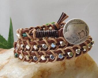 Western Bracelet, Southwestern Wrap Bracelet, Leather Bracelet, 3 x Wrap Bracelet, Leather Wrap, Brown Wrap Bracelet, Brown/Silver Bracelet