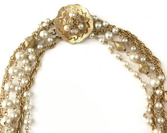 Vintage Multi Strand Faux Pearl and Gold Tone Necklace