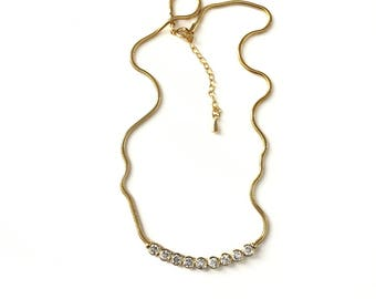 Vintage CZ Crystal Gold Plated Arched Bar Crystal Necklace
