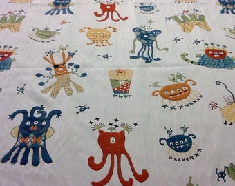 Fabric - By the Yard - Upholstery, Drapery, Craft, Sewing - Playful Monsters Aliens - Yellow Orange Blue Green