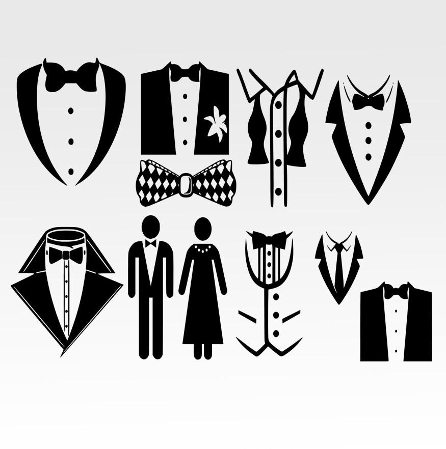 Tuxedo Bow Tie ,Tuxedo, Formal, Bib, Bow Tie, SVG And