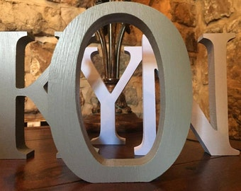 4 Pack - Free-standing Grey Wooden Letters - 13cm Large Letters - Select Your Own Letters, Multipack Offer Grey Letters, Gray Letters