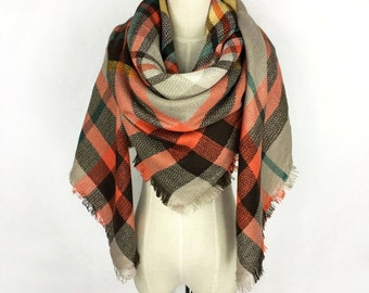 Plaid Scarf Blanket Scarf Blanket Scarf Plaid Orange Plaid Scarf Tartan Scarf Gray Blanket Scarf Oversized Scarf Winter Scarf Chunky Scarf