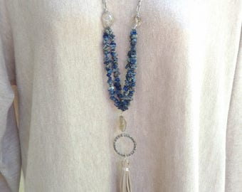 Long chain, bead, tassel necklace