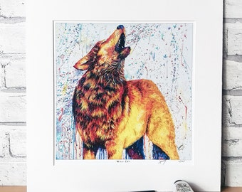 Wolf PRINT, wolf painting, wolf art, bright wolf, wolf gift, wolf lover, native wolf, wolf howling, wolf art print, home decor, office art