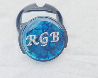 Monogram stethoscope ID tag with blue background, customized with your name up to 4 letters