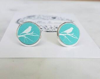 Wooden painted bird stud earrings