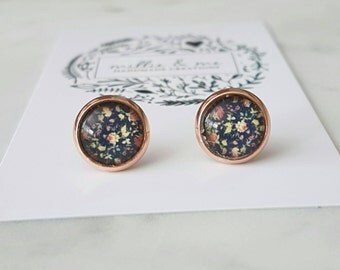 Rose gold and glass cabochon stud earrings