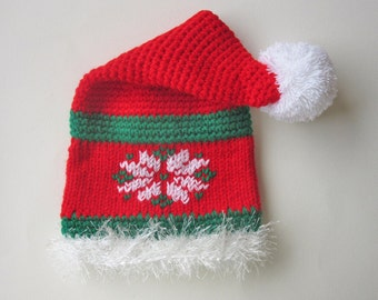 Baby Santa Hat, Christmas Baby Accessories, Infant 18-24 months, Baby Hooded Hat, Infant Santa Hat, Baby Photo Prop