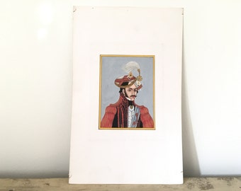 Old portrait of maharaja, red.