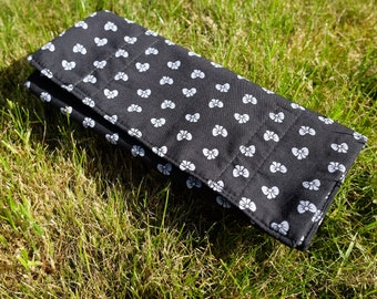 Kitsch b&w bow pattern: roll up burrito pencil case, handmade with love <3