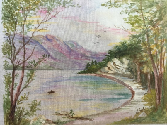 Set of 12 hand painted on silk mountain, Lake scenes, painted views
