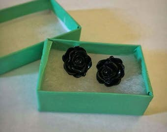 Black Rose Earrings