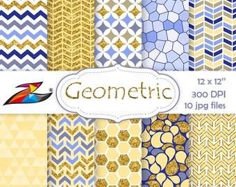 Sale Geometric Digital Paper Yellow blue gold digital paper geometric scrapbook chevron background Printable Paper Mosaic