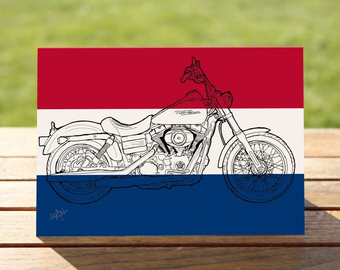 "Harley Davidson Dyna Motorcycle Gift Card | | A6 - 6"" x 4""  / 103mm x 147mm  