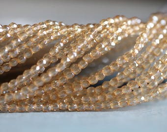 SUMMER SALE 3mm (50) Champagne, Transparent, Faceted, Round, Czech Glass Beads, Fire Polished, 50 Pieces