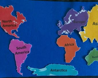 Continents  Felt Board Set// Flannel Board// History // Geography // Map // Globe // World