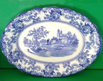 Antique Blue and White Ironstone Platter Colonial Pottery F. Winkle & Co. England Togo Earthenware Oval Serving Dish