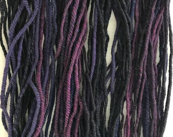 Purple Wool Yarn - 3 ply Handspun