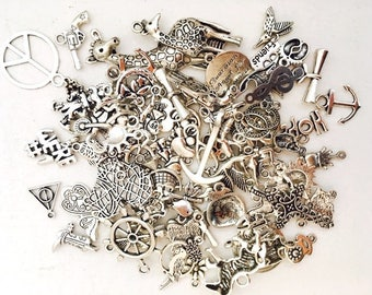CLOSING SALE 50 pcs Charms, Assorted Antique Silver Charms, Liquidation Mixed Lot Charms, Grab Bag Charms, wholesale charms, MIX2