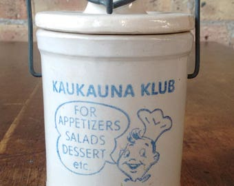 Vintage Kaukauna Klub Ceramic Cheese Crock