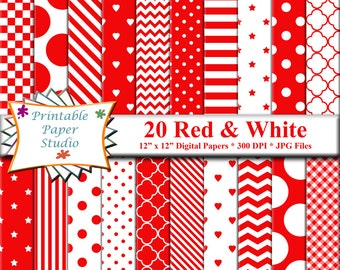 Red Digital Paper Pack, Valentine Paper, Red Colored Paper, Valentines Day Digital Paper, Hearts Paper for Card making, Instant Download