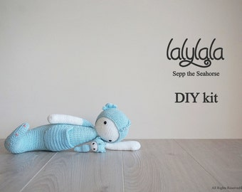 Lalylala Sepp the Seahorse - Amigurumi kit set - Lalylala pattern - DIY Craft - Easter gift - Gift for girl - Gift for boy