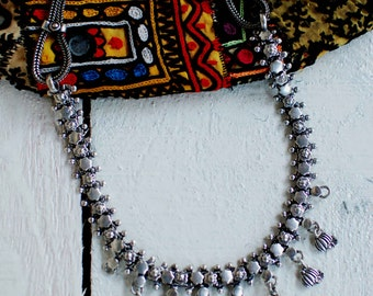Silver Necklace,Boho Necklace,Ethnic Necklace,Indian Necklace,Gypsy Chic Necklace,Ethnic Style
