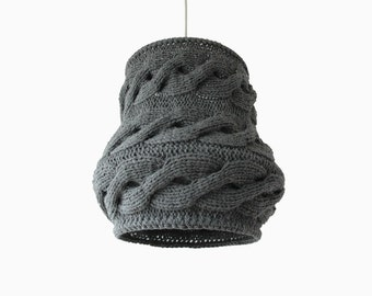 Knitted Lampshade LUUKA / Pendant Light / Unique Knitted Home Decor / Gray Hanging Shade - Made-to-order