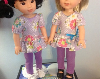 """SALE! Wellie wisher 14.5"""" doll leggings and ruffled top with free shipping"""