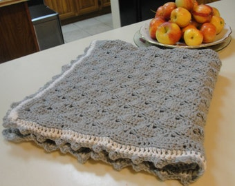 "Handmade, crochet blanket,in gray and cream. Size 33x33""."