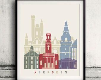 Aberdeen skyline poster - Fine Art Print Landmarks skyline Poster Gift Illustration Artistic Colorful Landmarks - SKU 2308