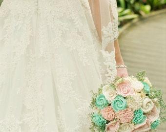 Sola bouquet, Pink, Mint, wedding bouquet, bridal bouquet, sola flowers, rustic wedding, keepsake bouquet, bridesmaid bouquet