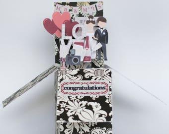 Modern Wedding folding pop-up box card