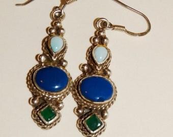 "Vintage Sterling Silver Multicolor Stone 1 1/4"" Earrings."