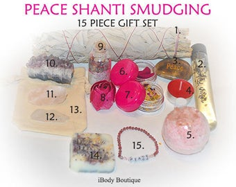 "Peace ""Shanti"" Smudging 15 Piece Gift Set,Smudging,Smudging Kit,Herbal Botanical, Sage,California Sage,Cleansing,"
