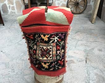 Free Shipping ! Vintage  Turkish Saddlebag  Rug / 4'1'' x 1'5'2 ft / 1.24 x 0.42 mt